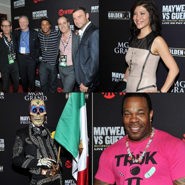 Can you match the following names with the TV executives, boxers, movie stars and TV personalities that were at the VIP pre-fight party? No help whatsoever - match the names with the following photos: CEO and Chairman of Showtime Networks Inc. Matt Blank, actor Jon Voight, Pooch Hall, President of Showtime Networks Inc., David Nevins, actor Liev Schreiber, TV personality Kevin Frazier (R) and his wife Yazmin Frazier, TV personality Julie Chen, Fermin 'La Calaca', recording artist Busta Ryhmes, actor Don Cheadle, boxers Bernard Hopkins, Miguel Cotto, Austin Trout and his wife, Adrien Broner and his better half, NBA player Metta World Peace, All photos: Jeff Bottari/Getty Images