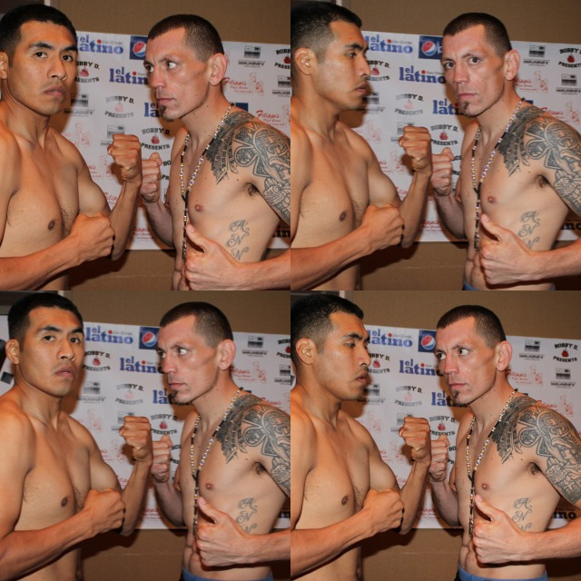 Boxers Aaron Garcia and Cesar Garcia sneak a peek at each other while posing for poses at Thursaday's weigh-in at the Four Points By Sheraton Hotel in San Diego. All photos: Jim Wyatt