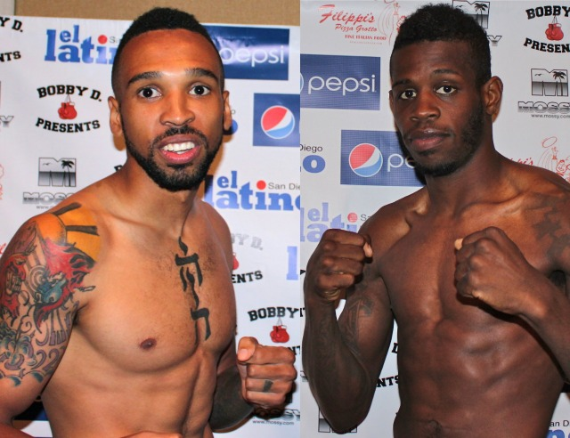 James Taylor (r) and Andre Ewell (l) pose for a photo at their weigh-ins.
