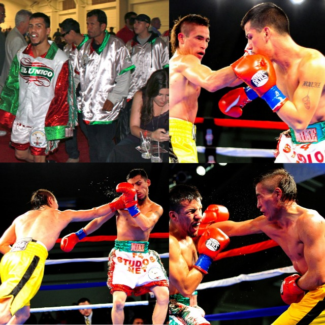 (top, left) Michael Ruiz makes his entrance on Friday evening at the Bing Crosby Hall. The other three photos show Khabir Suleymanov (yellow trunks) landing a solid right to Michael Ruiz's head.