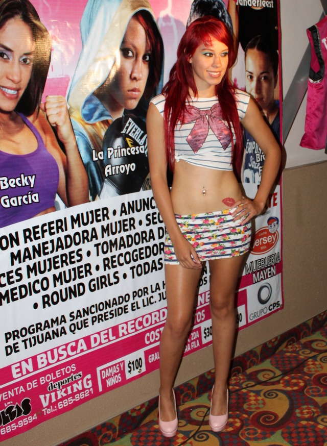 "Joselyn ""Princesa Tapatía"" Arroyo is one of those Wow! girls. This was the skimpy outfit she wore the last time she visited Tijuana for the show ""Pretty in Pink"" at Las Pulgas. Photo: Jim Wyatt"