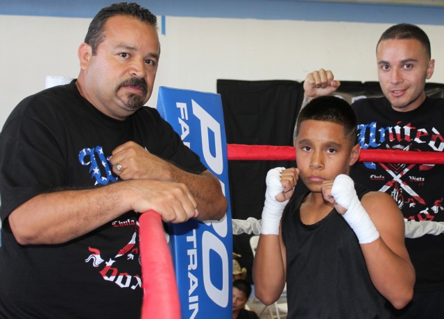 Here we have Gilbert Roybal and his two coaches from the United Boxing in Chula Vista, CA. Roybal compete in Bout #3 against Jose Chollet from San Diego's Barrio Station.
