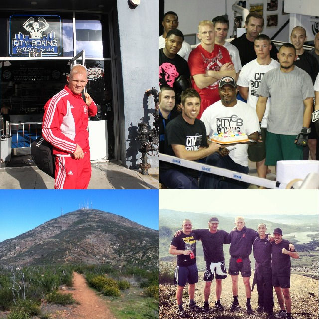 (top, left to right) Denis Grachev stands outside the City Boxing gym in San Diego. Members of the gym have a party for Vernon Lee, a popular boxing coach at City Boxing. (below) San Miguel Mountain is shown. The beast-mode blitz by these gents to the top of San Miguel Mountain in Chula Vista, CA took place weekly. The round trip mileage is approximately seven miles out and back with a 2,000 foot gain on a mountain that's 2,500 foot above sea level.