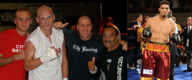 "Photo one, Evgeniy Khil, Denis Grachev, Grachev's manager and City Boxing Gym owner Mark Dion plus legendary trainer Pepe Morales pose for a photo in 2006, the year the two Russian athletes arrived in San Diego. (r) photo of Grachev's opponent on July 13, 2013, Edwin ""La Bomba"" Rodriguez from Worcester, Massachusetts by way of the Dominican Republic."