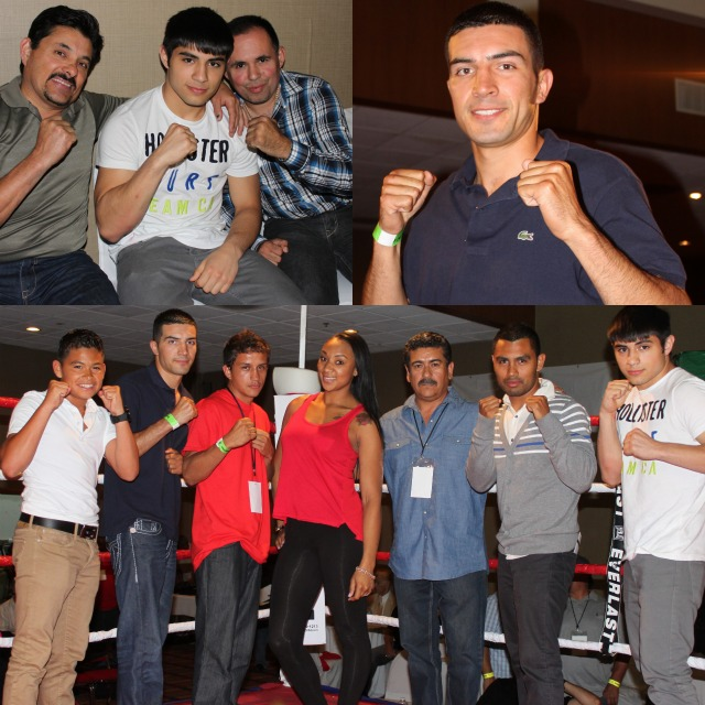 """Up and coming stars (l to r) Rey Gamez, Pablo Armenta, Christian Torres, Kandice Williams, promoter/matchmaker Jorge Marron, Kevin Torres and Roque """"Rocky"""" Ramos. The list of Ramos' credits: over 130 amateur fights, 2001 & 2002 Boxers for Christ Champion, 2003 Mexican National Champion, 2003 Pan American Gold Medalist, 2005 Mexican National Bronze Medalist, 2010 B.C.R. Belt Tournament Champ, etc."""