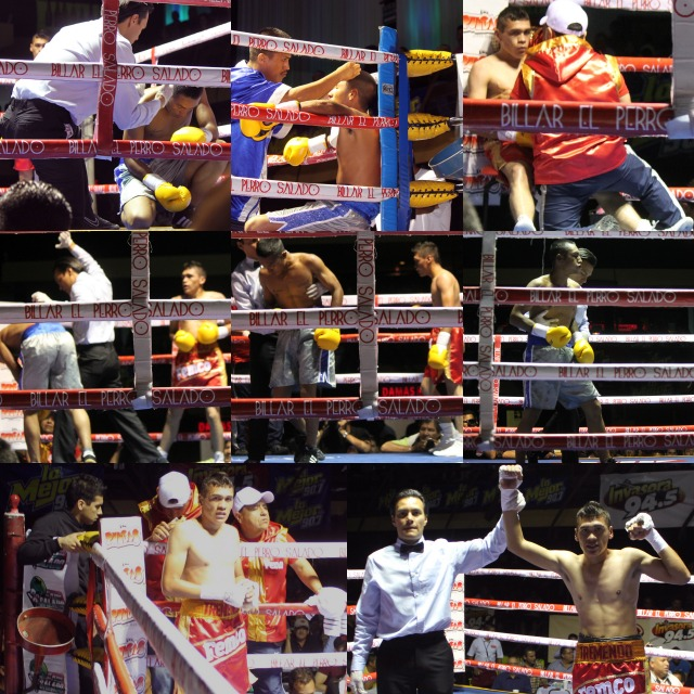 Herberto Delgado, (bottom right) remains undefeated after getting the TKO victory over  stopping first timer Martin Morones (0-1)