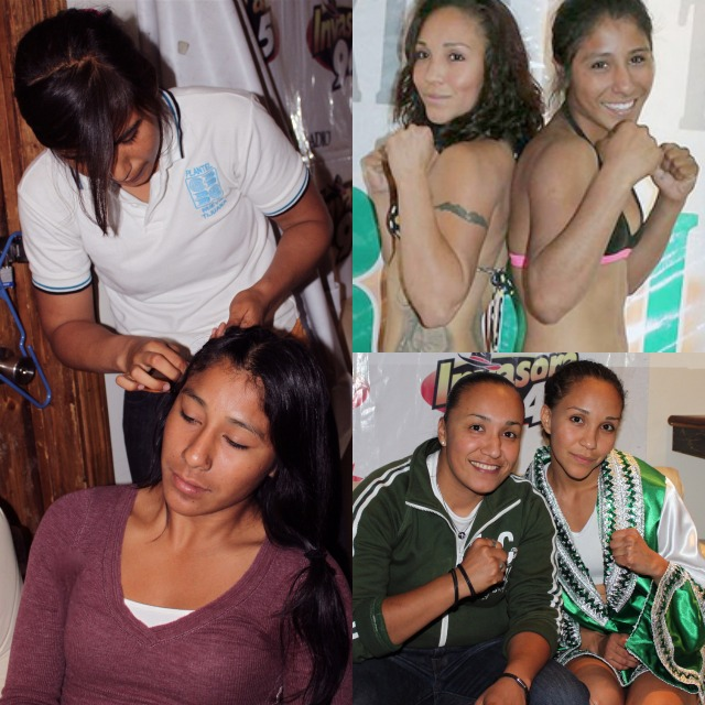 In preparation for their fight, (l) Kenia Enriquez has her hair braided by her sister, the hair stylist. (bottom right) Salas poses for a photo with her friend and coach.