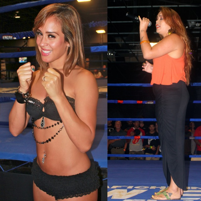 (r) Lea Love of Oceanside, CA sings our nation's National Anthem. Meanwhile, the lovely Ring Card Girls were like eye candy for the gentlemen in attendance.