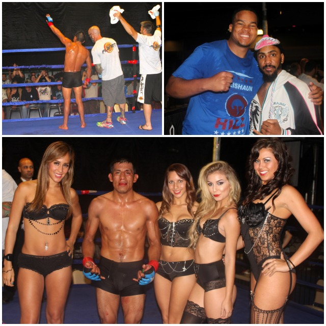 In the above photo collage (top, l to r) we have Leo Franklin saluting his fans after the win. Then it's Abasai Lopez (r) with his buddy Kieshaun Hill (l). (below) Franklin continues to celebrate his victory with the lovely ring card girls.