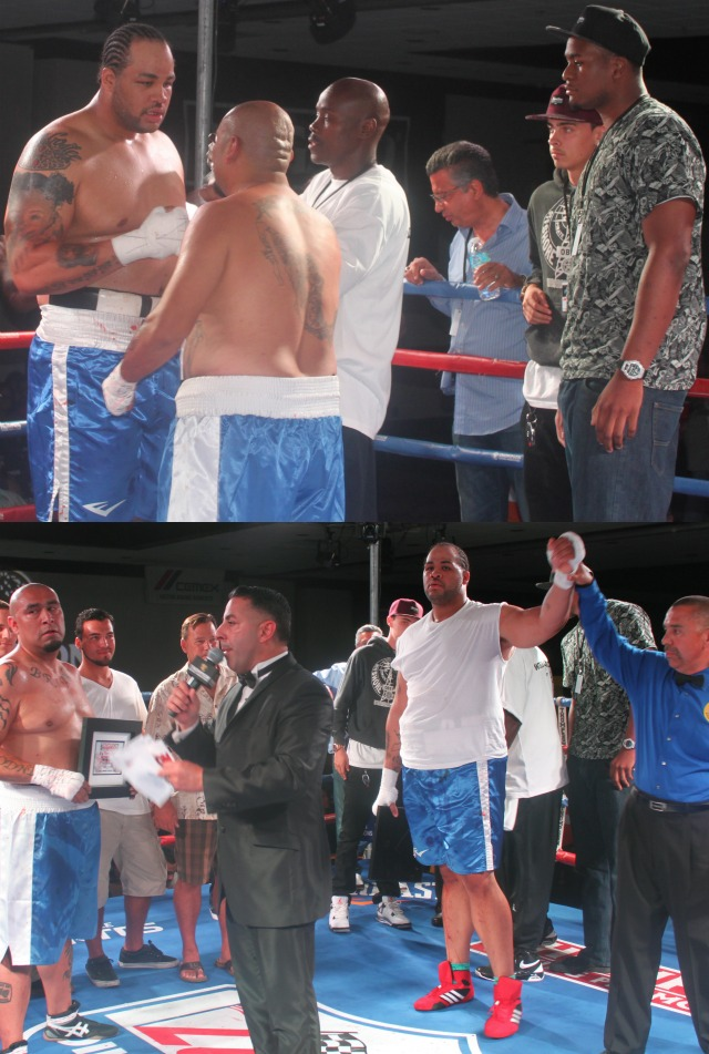 (bottom) At the conclusion of their 2 minute and 14 second skirmish, the two fighters, Justin Goslee (r) and Jose Hermosillo (l) shook hands.