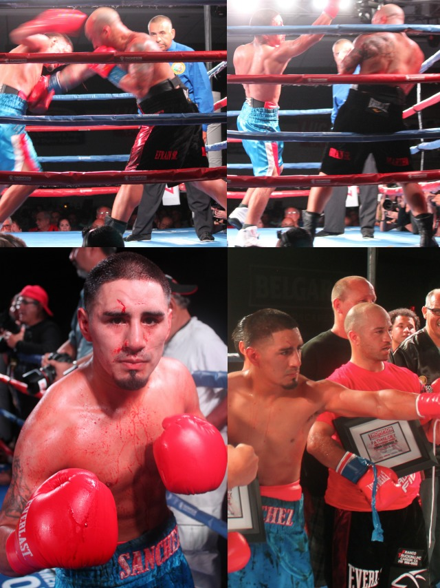 (bottom left) Here we see the nasty gash on Victor Sanchez's forehead. (bottom right) The two boxers pose for photos at the end of their contest.