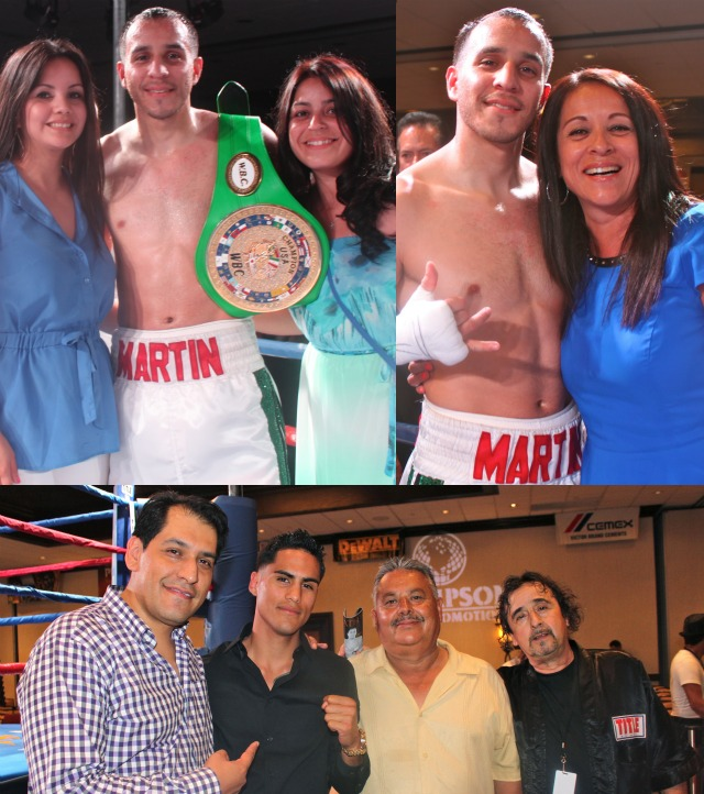 """In the above photos, Chris Martin is joined by his wife, cousin and finally his mother. Below we have Alex Camponovo, the General Manager of Thompson Boxing Promotions with a young fighter, Jorge """"Tito"""" Ruiz, his father and coach, Sergio Melendrez. On this evening they were discussing Ruiz's first fight on the July 26, 2013 Thompson boxing card."""