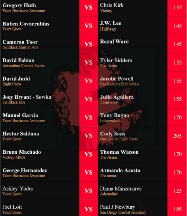 Epic Fighting 19's Fight Card