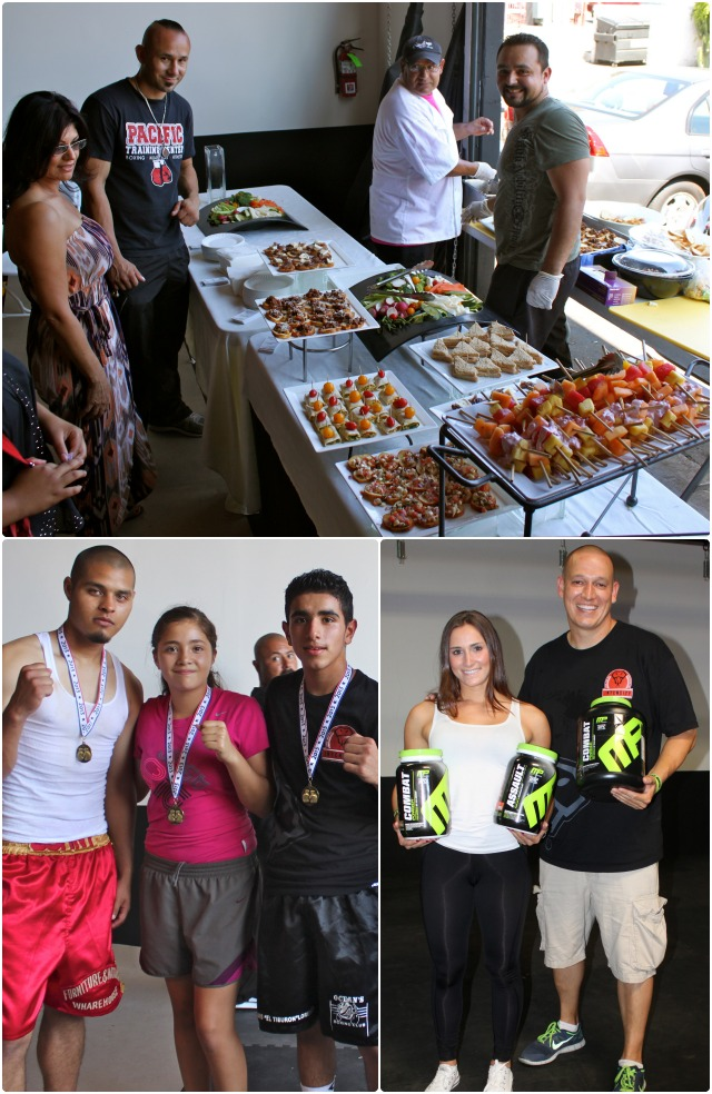 (top) tasty appetizers were offered by Jorge Hernandez of California Comfort Food. (bottom, right) Muscle Pharm representative Laura Kopel stands next to the gym's marketing director Sky Andren. Kopel was on hand to talk about her company's supplements for bodybuilders, powerlifters and fighters.