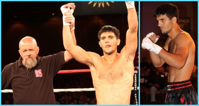"Alfred Khashakyan of Glendale, CA has his arm raised in victory after defeating Chris ""Mohawk"" Minor."