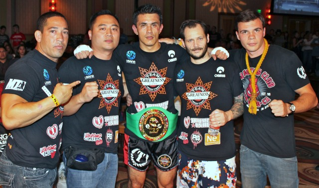 At the conclusion of his bout with Raul Rodriguez, the victorious Luis Bio was joined by his most loyal support group. All photos: Jim Wyatt