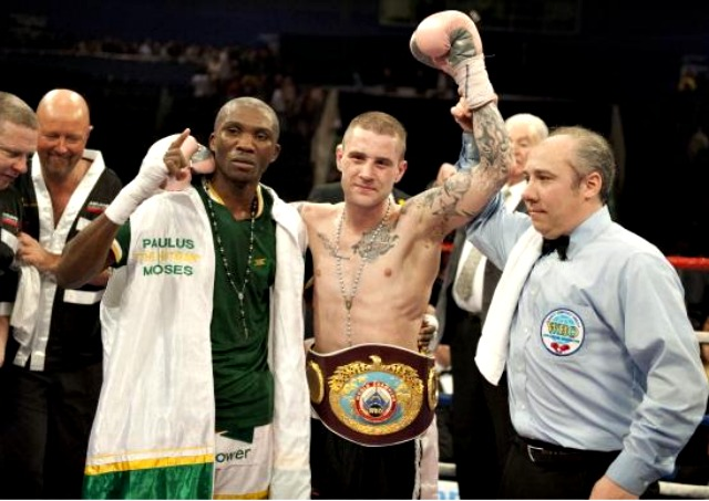 Ricky Burns of Scotland defeats Paulus Moses of Namibia to retain his WBO world lightweight title at the Braehead Arena on March 10, 2012 in Glasgow, Scotland. Photo: Rob Casey/Getty Images