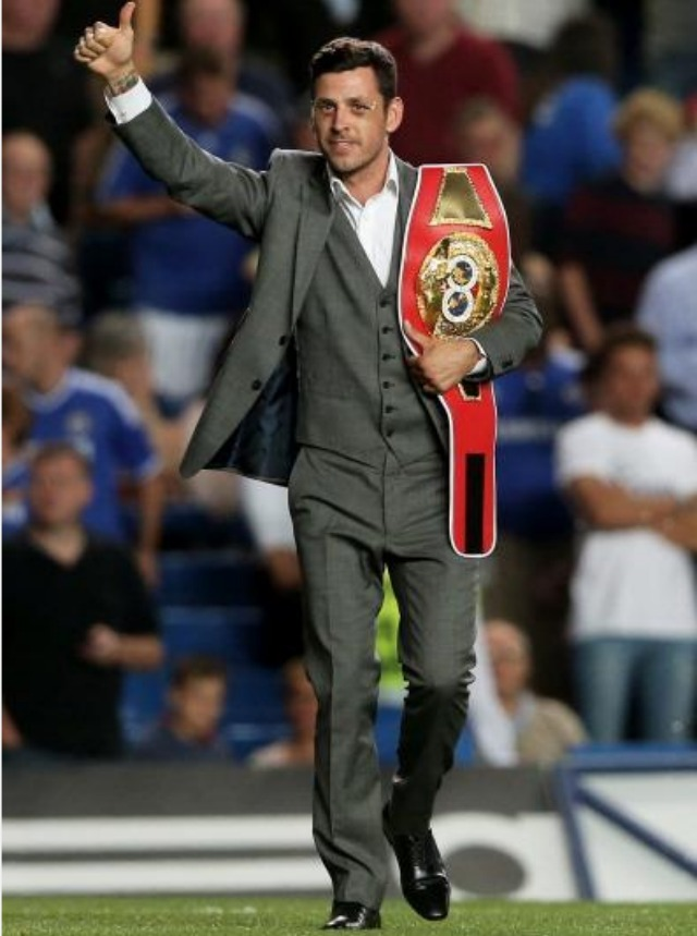 Boxer Darren Barker the IBF Middleweight Champion is introduced to the fans at half time of the Barclays Premier League match between Chelsea and Aston Villa at Stamford Bridge in London. Photo: Scott Heavey/Getty Images