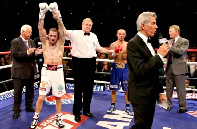Ricky Burns celebrates his victory over Kevin Mitchell during their WBO World Lightweight Championship match at SECC on September 22, 2012 in Glasgow, Scotland. Photo: Scott Heavey/Getty Images