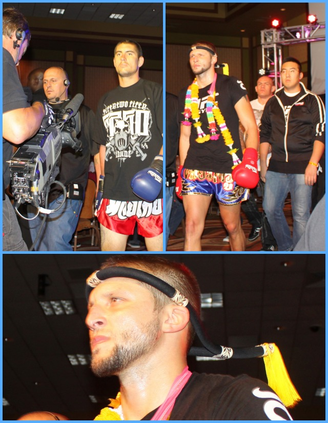 miguel Cosio (top, left) and Jacob Poss (top, right) make their ring entrance