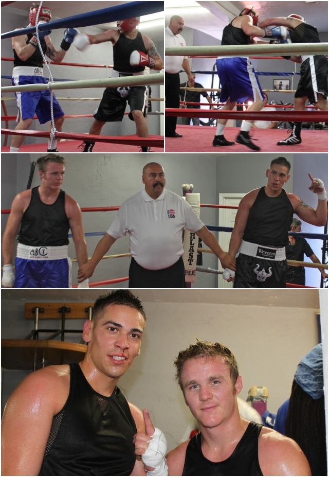 In Bout #3, it was Enrique Lopez (bottom photo, left) of the Pound 4 Pound Boxing Gym of Oceanside, CA going up against Joseph Berger (right) of the host gym, ABC Mongoose.