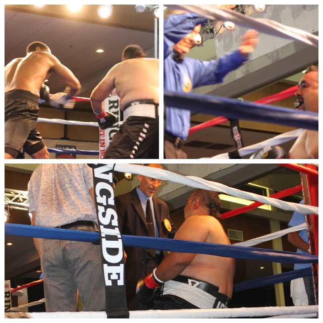 (top photo, right) Michael Hunter lands a hard right cross to Francesco Mireles' head. The fight didn't even last a full minute. After walking just a few steps from his corner, Hunter met him and sent him backpeddling in the same direction.