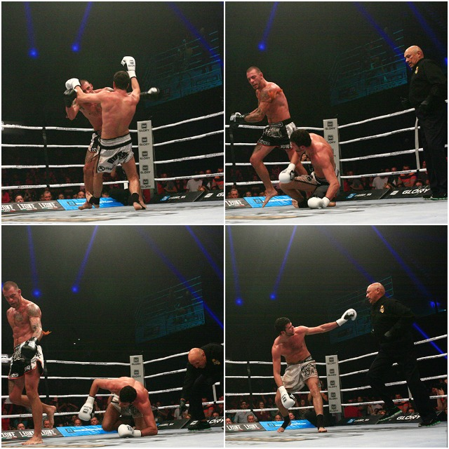 (l to r, top to bottom) in the first photo, Levin has his left foot on Schilling's right foot as the attacking Schilling unloads his sweeping left hook towards Levin's chin. Levin tries to lean towards his left to avoid the punch but loses his footing and goes down. Final photo shows Levin trying to plead his case to referee Marco Rosales that he lost his balance and fell on his own account. A close call that could go either way.