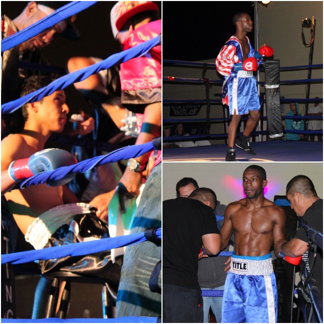 On Saturday night at the Escondido Show, Mike Haigood (top right) is the first boxer to make his entrance for his battle against Johnny Rivera (photo left). All photos: Jim Wyatt