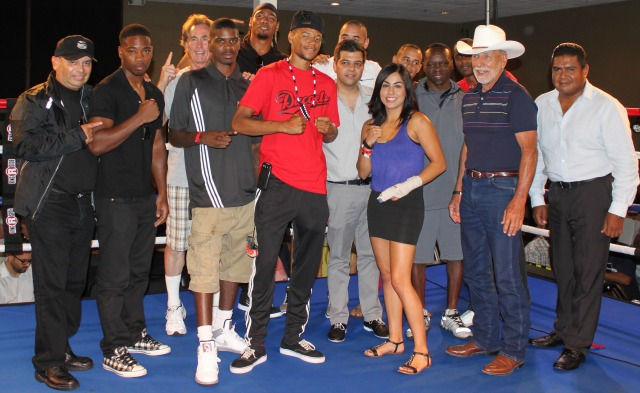 """(boxing notables introduced, l to r) Maurice """"Mighty Mo"""" Hooker, Prince """"Tiger"""" Smalls, Tijuana Women's Boxing Commissioner Carlos Labastida, boxer Amaris Quintana, far right, President of the Tijuana Boxing Commissioners Juan Carlos Pelayo."""