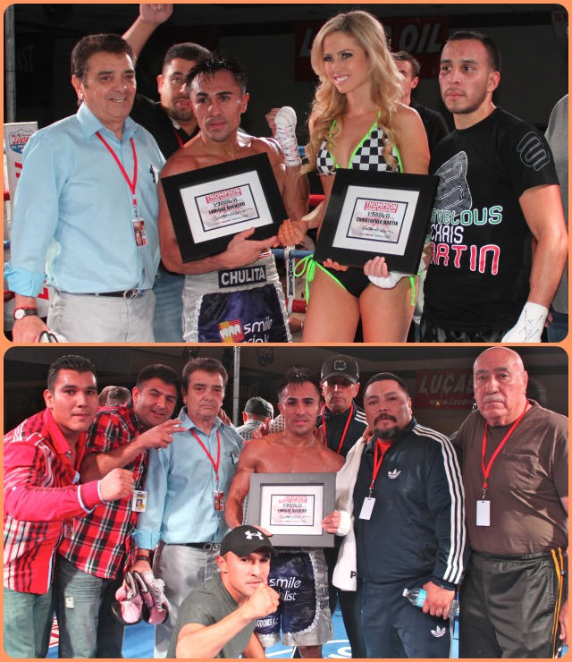 At the conclusion of their contest both Christopher Martin and the winner Enrique Quevedo pose for photos.