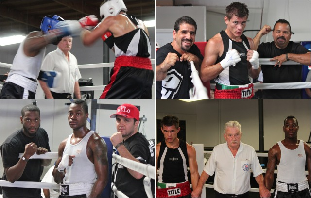 (top right) At the conclusion of his slugfest with Terrence Hendricks, Christian Olivas is joined by his two coaches Luis Lorenzo (l) and Luis Gamez (r). (photo, bottom left) Terrence Hendricks (c) is joined by his biggest supporters, Berlin Kerney IV, Hendrick's uncle and trainer, plus Jack Ballo, assisting in the corner. All photos: Jim Wyatt
