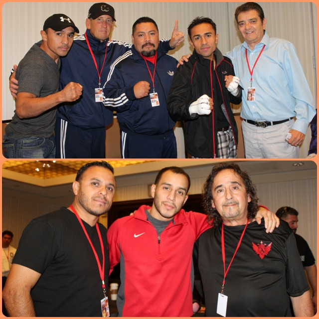 In their separate dressing rooms before the fight Enrique Quevedo (top, second from the right) and Chris Martin (bottom, center) posed for photos with their support staffs. All photos: Jim Wyatt