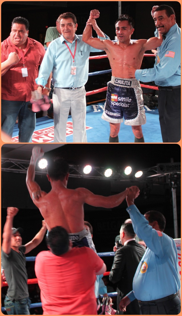 At the conclusion of his bout with Chris Martin, one of Enrique Quevedo's corner people raised the hero high overhead to celebrate the grand victory.