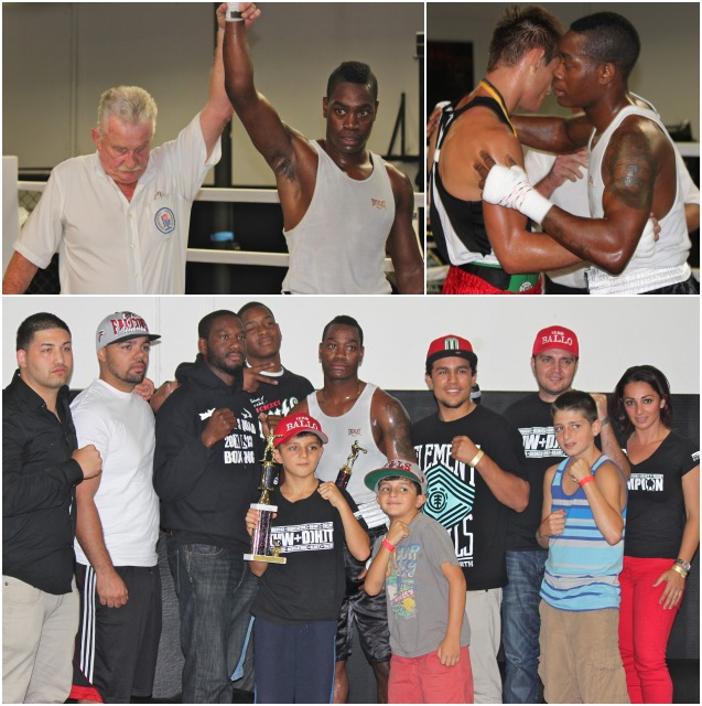 (bottom) At the conclusion of his bout with Christian Olivas, Terrence Hendricks was swamped by well wishers from his El Cajon gym.