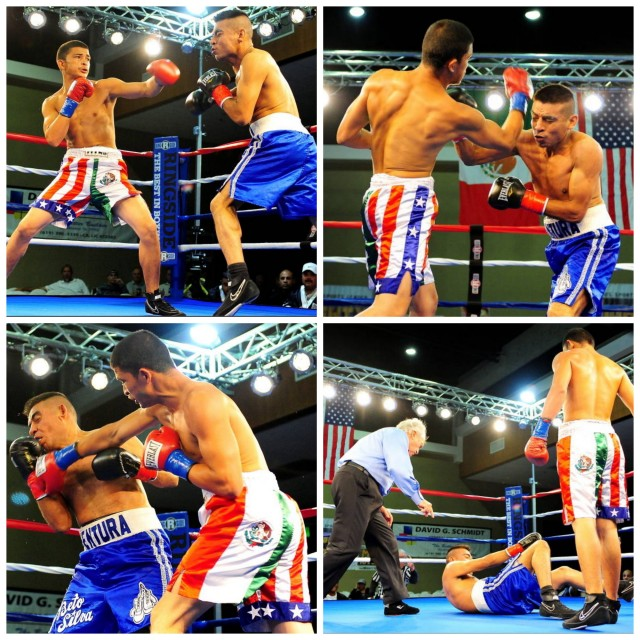 (top photos) From the outset, Luis Ventura (blue trunks) had a difficult time matching the hand speed of his more proficient opponent Diego Madrigal of Indio, CA. (below) we see Diego Madrigal having his arm raised in victory by referee Pat Russell.