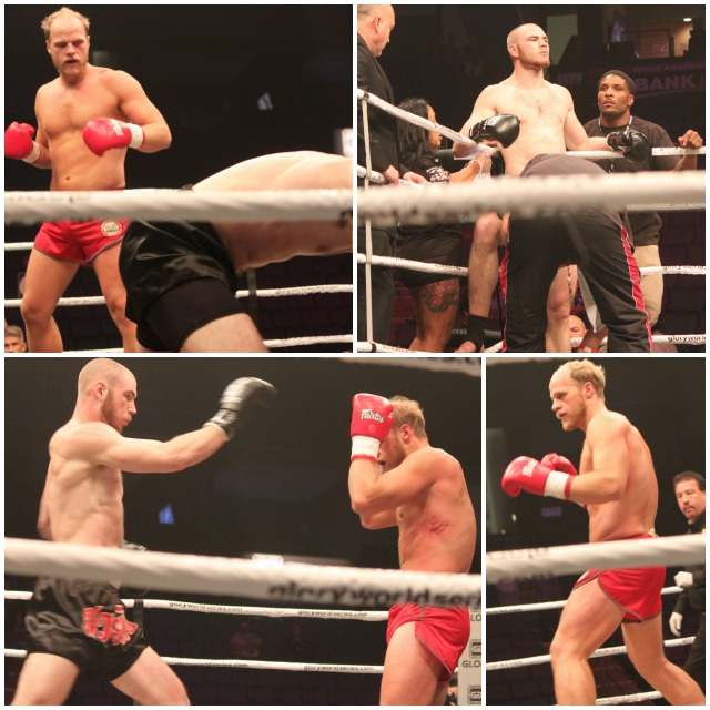 In Bout #1, it was Charles Bisset (red trunks) getting the decision win over Matt Baker (black trunks).