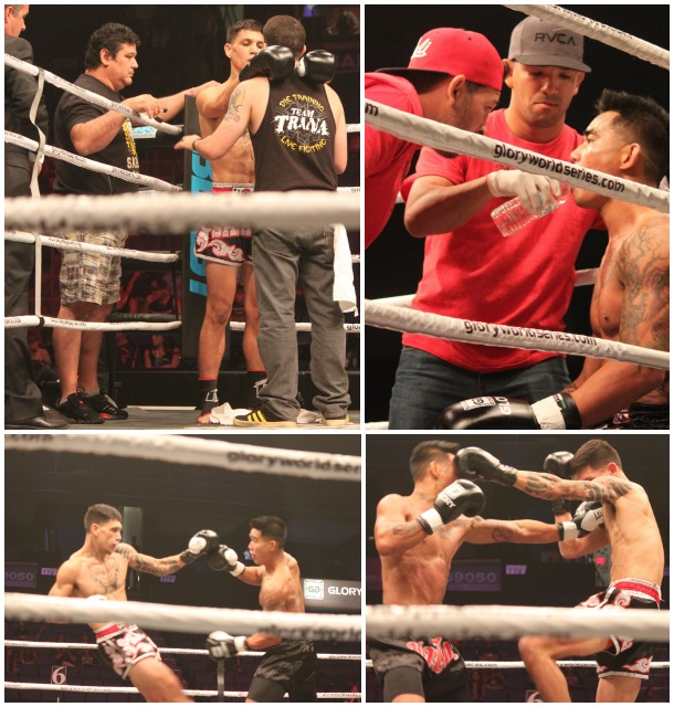 In Bout #2, it was  Daniel Valdez (dark trunks) getting the decision win over Brian Del Rosario (white trunks).