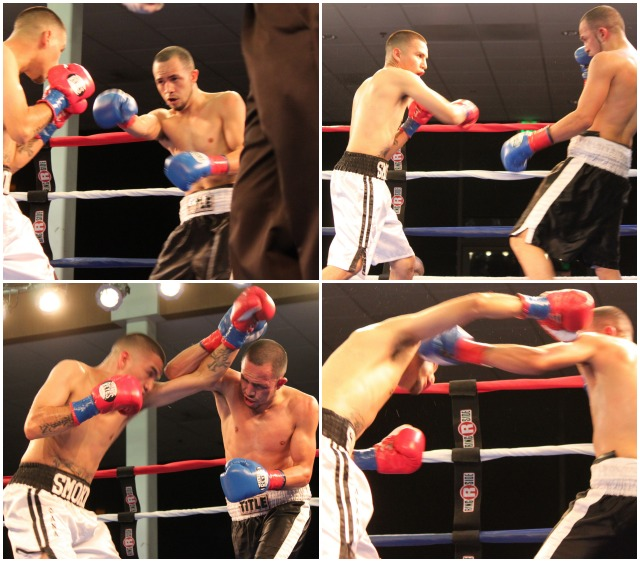 One of the most hotly contested bouts of the night was this action packed battle between Joe Perez (white trunks) of Chula Vista, CA and Alfredo Madrigal (dark trunks) of Indio, CA. All photos: Jim Wyatt