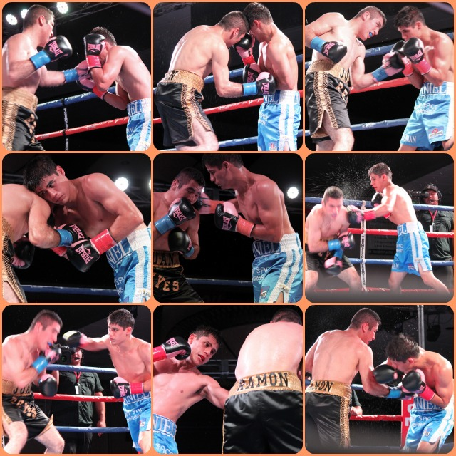 (bottom, left) Juan Ramon Reyes (black trunks) gets punched in the face by his opponent Daniel Roman (blue trunks).