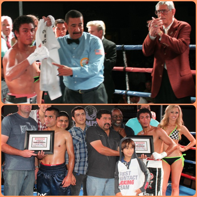 (top, left) The celebrated hero, Carlos Carlson, has his arm raised in victory by veteran referee Wayne Hedgepeth.