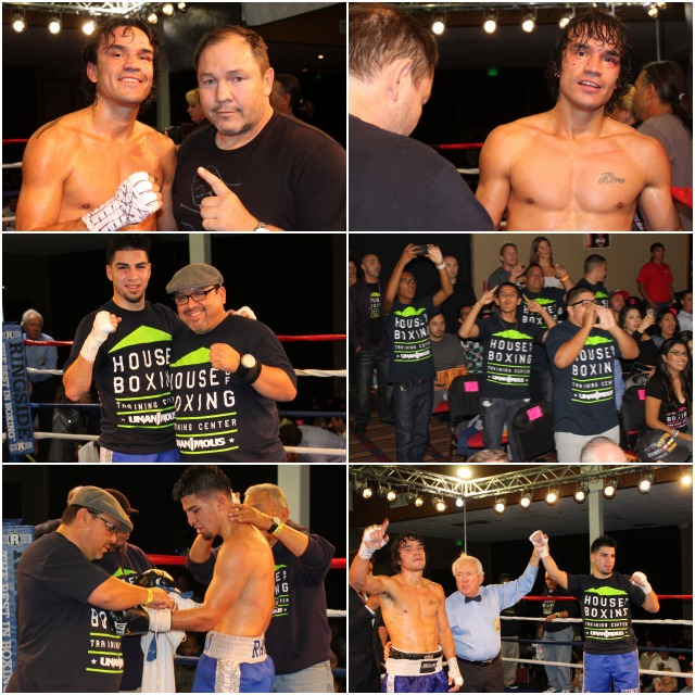 (top photos) Matt Dumais and his trainer, former heavyweight contender Justin Fortune, look our way at the conclusion of his all action fight with David Barragan. (below) David Barragan and his supporters celebrate his victory over Dumais.