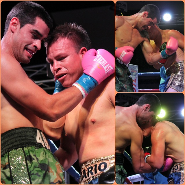 With Mario Hermosillo bull rushing his opponent, Israel Arellano (left) found himself in close quarters and fighting Hermosillo's t