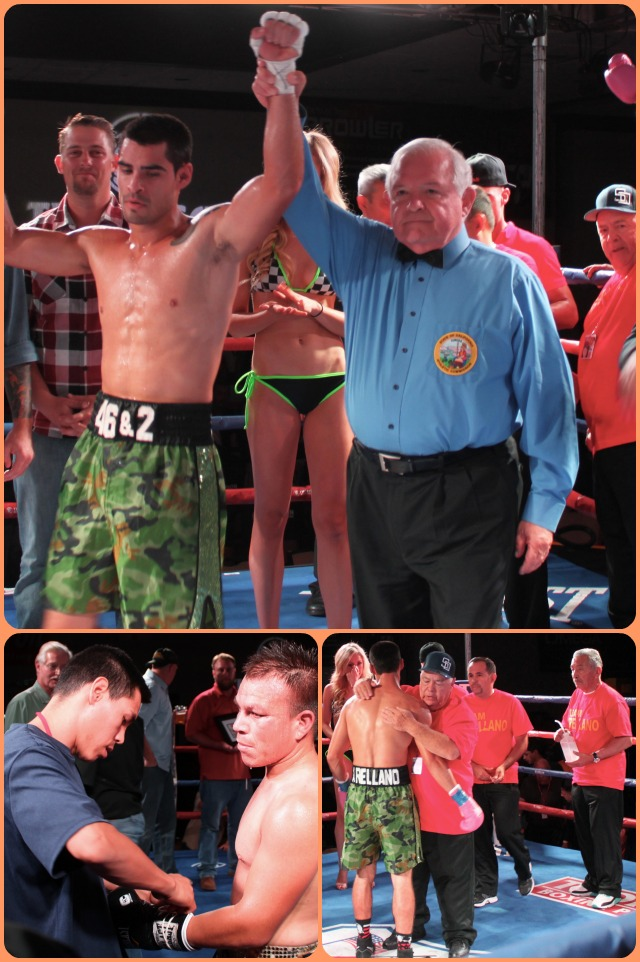 Bt 4 d Israel Arellano has his arm raised in victory by referee Moret