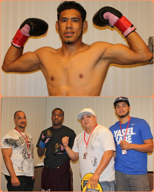 In Bout #5, it was the roughhousing   Juan Carlos Sanchez (top) going up against the rather quiet and unassuming Joshua Conley, shown here with his support staff which includes well known trainer Henry Ramirez (second from the right, white hat).