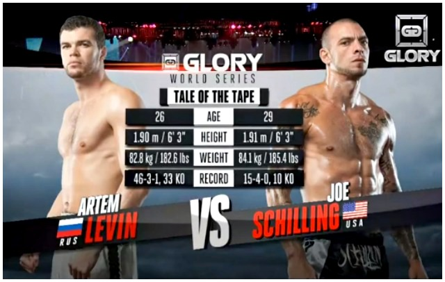 On Saturday, September 28, 2013, Artem Levin (l) of Russia and Joe Schilling of Los Angeles, CA went head to head in the finals of the Glory 10 Los Angeles Middleweight World Title fight with $150,000 going to the winner.