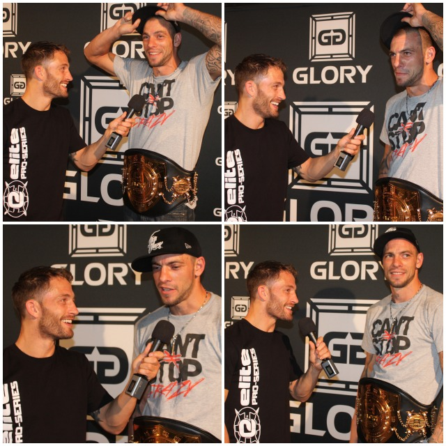 At the close of the show, the interviews of Joe Schilling the new Glory Middle Weight World Champion continued. All photos: Jim Wyatt