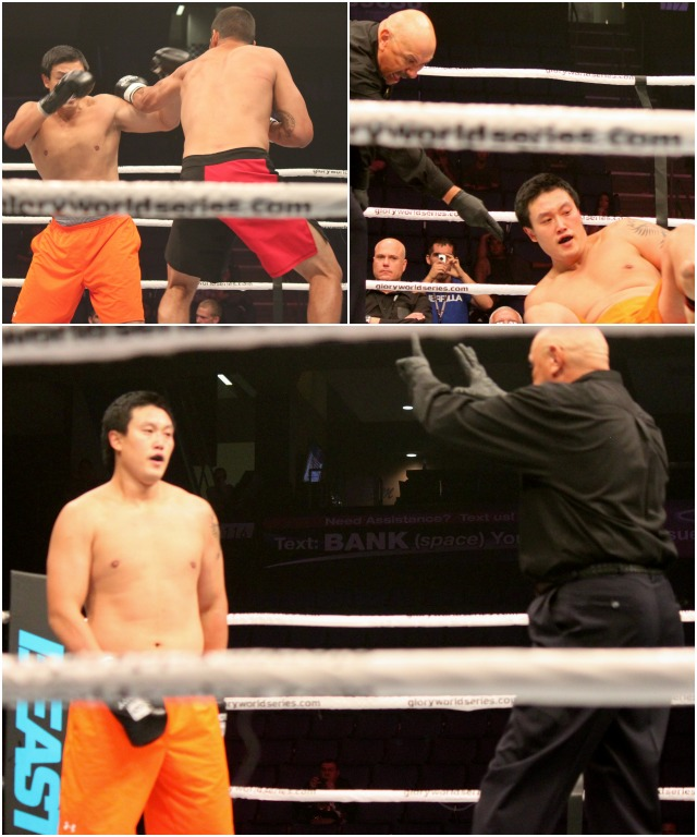 After the knockdown, referee Marcos Rosales (bottom right) gives Hyun man Myung the ten count.