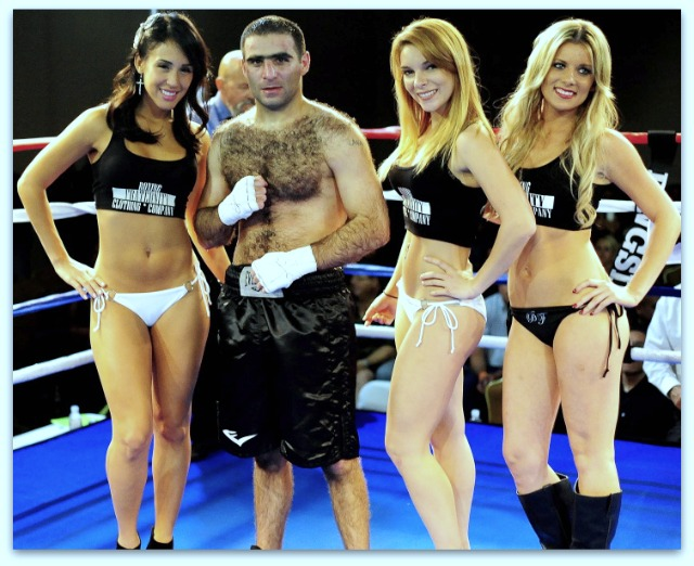 """The above action shots were provided by photographer Paul Gallegos. (below) After it was announced that Levan Ghvamichava had defeated Victor Fonseca, """"the Wolf"""" posed for photos with the lovely Ring Card Girls."""