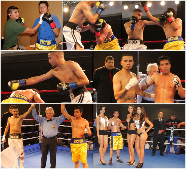 (bottom left photo) At the conclusion of Bout #1, referee Pat Russell raises the arms of both Joe Perez (l) and Victor Capaceta (r) after it was announced that their bout had been declared a mixed decision draw. Photos: Jim Wyatt