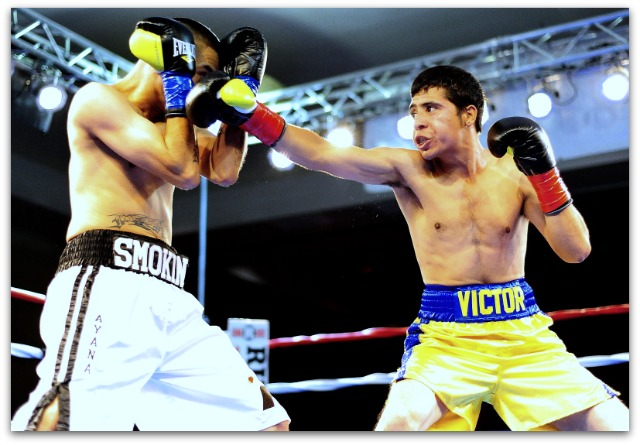 The above action photos in Bout #1 with Victor Capaceta (r) and Joe Perez (l) were taken by sports photographer Paul Gallegos.
